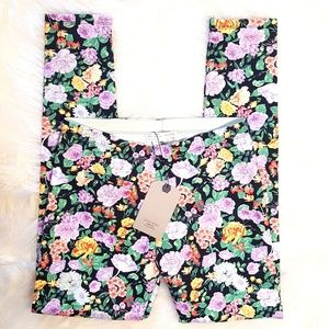 Zara New! Girl's Floral Print Leggings
